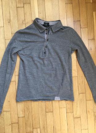 Оригинал ассиметричный серый свитер лонгслив hugo boss шерсть шёлк длинный рукав