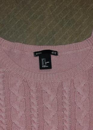 Крутой тепленький свитерок в косы, необычный цвет, как новый