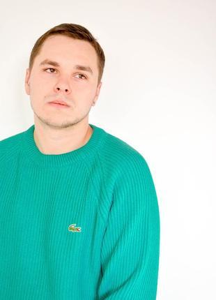 Lacoste плотный фактурный джемпер с круглым вырезом бирюзового оттенка, кофта, свитер