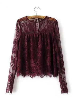 Блуза бордовая гипюр