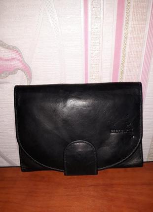 Черный кожаный мужской кошелек, портмоне elegance