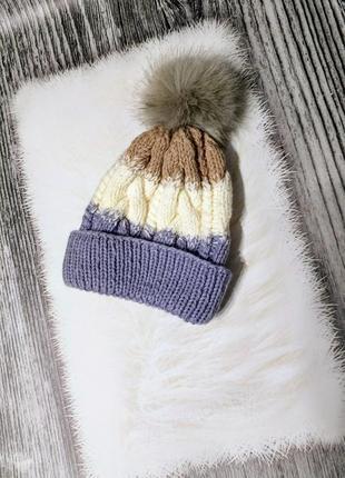 Вязаная шапка градиент с балабоном