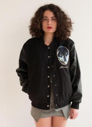 Курточка бомбер куртка американка  с кожаными рукавами