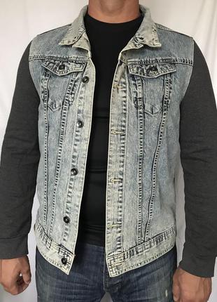 Пиджак джинсовый с трикотажными рукавами