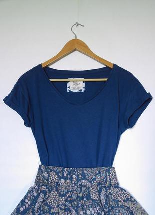 Синяя футболка. базовая футболка. футболка м. хлопковая футболка