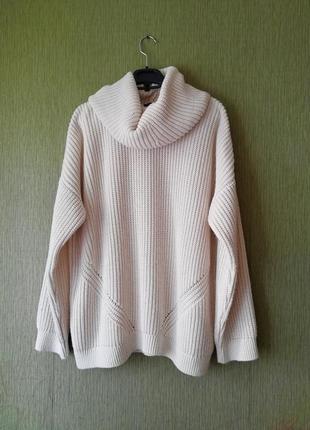 🌿 свитер крупной вязки с большим воротником хомутом 🌿нюдовый вязаный свитер