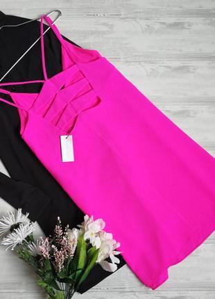 Яркое малиновое платье на бретельках с красивой спинкой 132554 sugar + lips размер m
