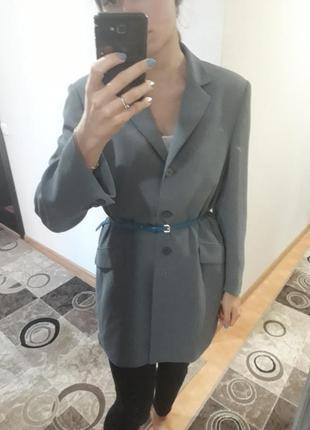 Серый супер удлиненный кардиган пальто пиджак