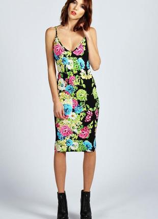 Платье миди в цветах boohoo