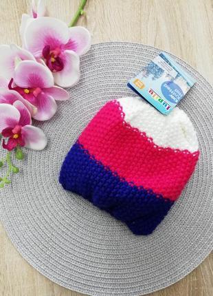 Акция!!!! вязаная шапочка на флисе для малышки 1-2 года, lupilu