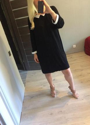 Черное платье с белыми манжетами и воротником батал р.20-22