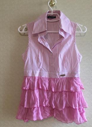 Крутая рубашка блуза с баской  дорогого бренда