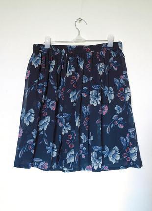 Юбка в цветочек. шифоновая юбка, мини юбка, синяя юбка.