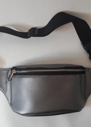 Женская бананка металлик поясная сумка темное серебро