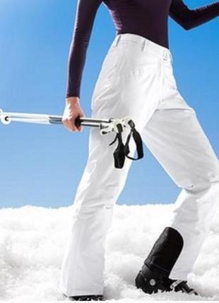 Белые водонепроницаемые, ветрозащитные лыжные штаны , l