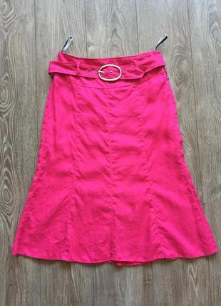 Льняная юбка gerry weber, трапеция, годе, цвет фуксия