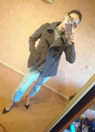 Пальто укороченное куртка пиджак жакет шинель серый осень