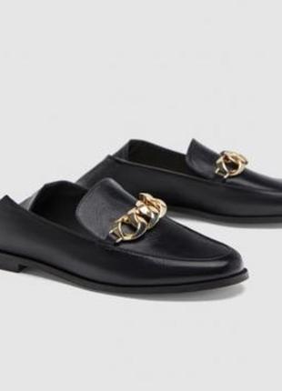 Туфли лоферы мюли с загнутым задником zara