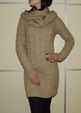 Очень теплое платье, вязаное платье косами  хомут