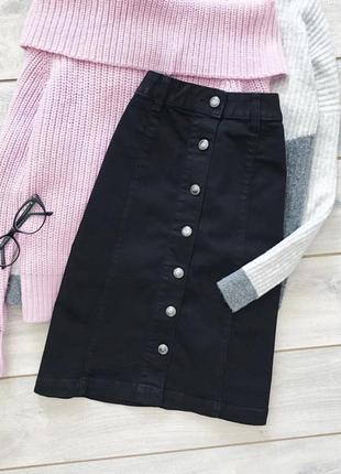 Черная юбка трапеция на пуговицах h&m