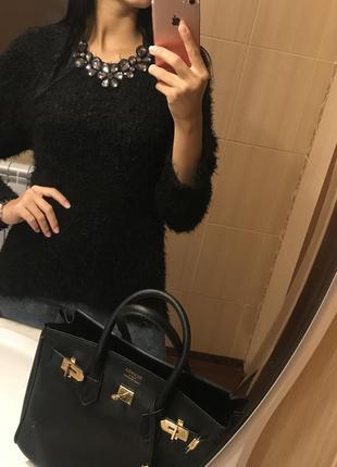 Пушистый свитер травка, джемпер,туника vero moda, чёрная кофта