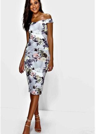 Платье по фигуре  в цветы со спущенными плечами booho m_l
