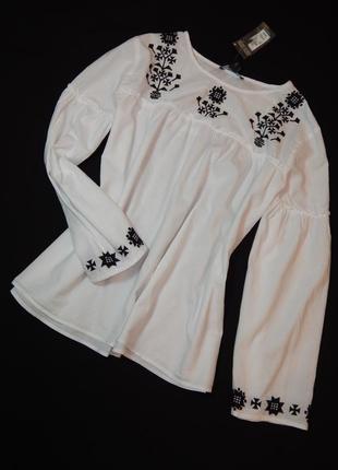 Чудесная женская кофта-блузка с вышивкой от primark. размер 14