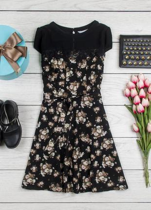 Платье черное цветы  от dorothy perkins рр 10 наш 44