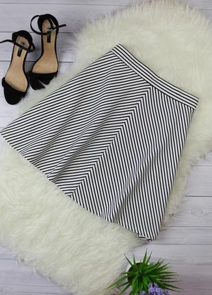 Фактурная юбка клеш на резинке в полоску