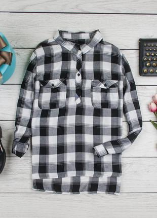Рубашка клетка вискозная блуза от atm рр 16 наш 50