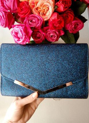 Синий вечерний клатч конверт с блестками вечерняя синяя сумочка кроссбоди