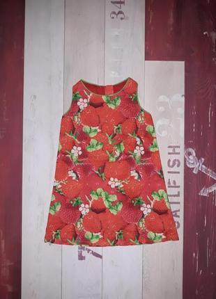 Шикарное платье next с клубничками на 1-2.5 года
