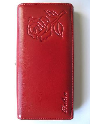 Большой кожаный кошелек красная роза, 100% натуральная кожа, доставка бесплатно