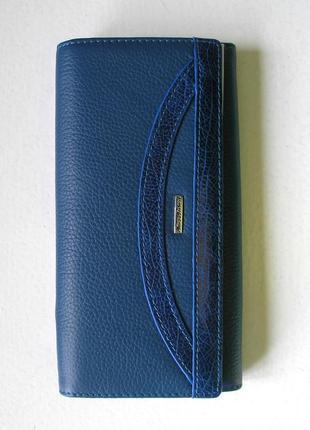 Большой кожаный кошелек -джинсовый синий- navy-, 100% натуральная кожа, доставка бесплатно