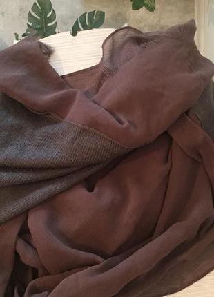 Шаль, шарф, шифон- шерсть, benetton