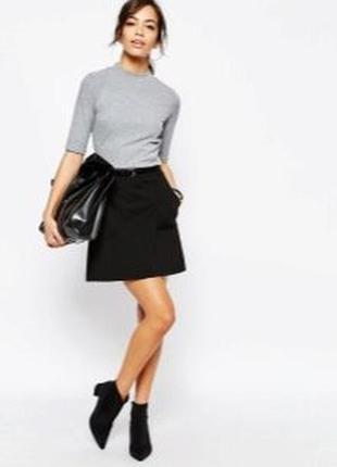 Базовая юбка трапеция с высокой посадкой на талии со складками черная