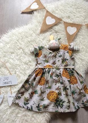 Красивое летнее платье от next в ананасах на 9-12 мес