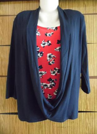 Блуза 2в1 (топ+кардиган), трикотажgeorge размер 14 – идет на 48-50+