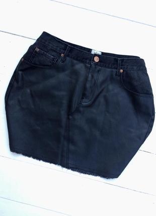 Стильная джинсовая юбка/еко кожа, чёрного/серого цвета большого розмера!