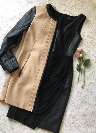 Красивое платье с вставками эко кожа