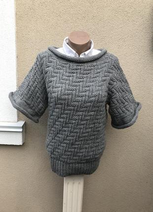 Серая кофта крупной вязки,свитер ажурный,джемпер,гольф,водолазка, шерсть