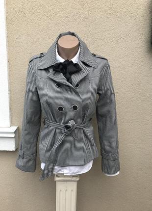 Укорочённый плащ, тренч,жакет,пиджак,куртка в клетку под пояс. marks & spencer