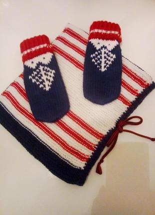 Зимний теплый вязаный комплект: варежки с узором и шарф-снуд!!!