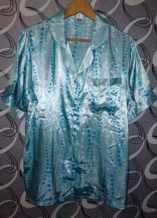 Атласный комплект пижама, рубашка, шорты