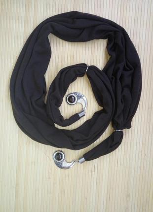 Оригиналтный трикотажный шоколадно коричневый шарф с