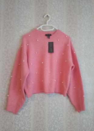 Свободный свитер с жемчугом