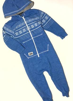 Ромпер синий комбез комбинезон человечек з капюшоном снежинки next 3-4года, 104см