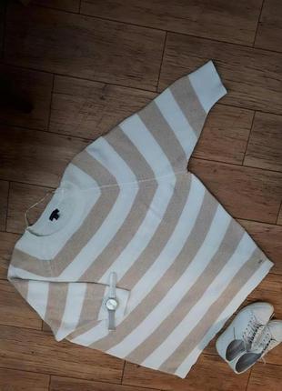 Крутой полосатый джемпер туника реглан кофта бело-бежевый свитер. коттон