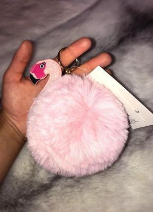Яркий пушистый брелок фламинго от h&m на ключи и сумку/ искусственный мех