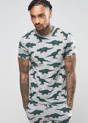 Пижамная серая футболка с принтом динозавров asos design